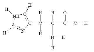 Structure of histidine. [str5his.jpg]