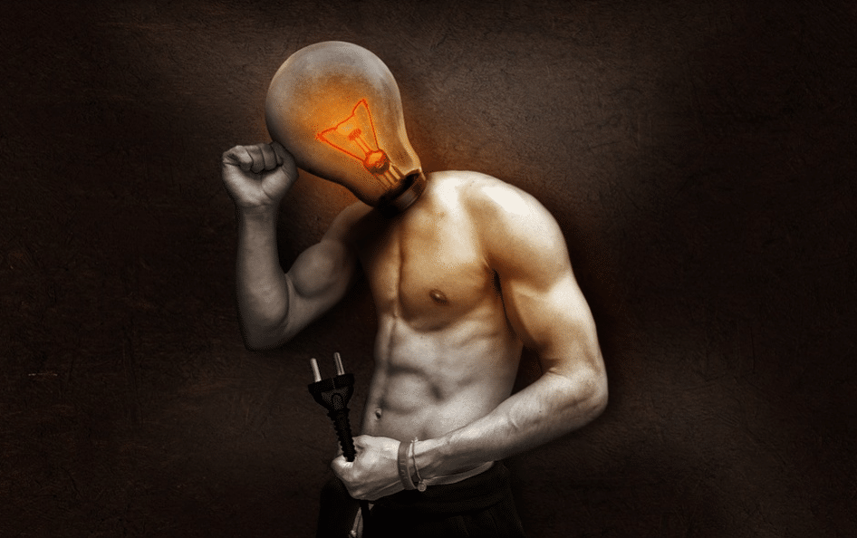 human body with light bulb head